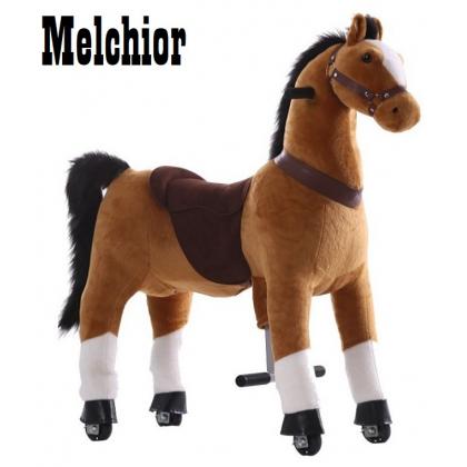 Kids-Horse Marron clair avec marque blanche, cheval à roulettes enfant 4 à 9 ans