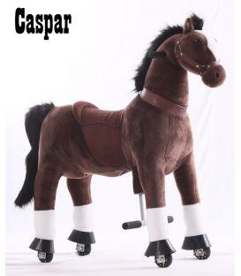 Kids-Horse Marron foncé avec marque blanche, cheval à roulettes enfant 4 à 9 ans