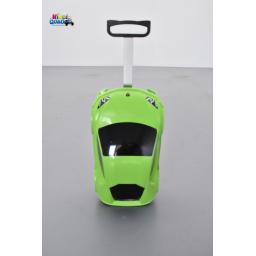 Valise voiture enfant sport vert, valisette forme voiture bébé