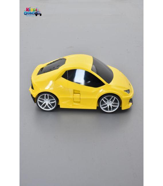 Valise voiture enfant sport jaune, valisette forme voiture bébé