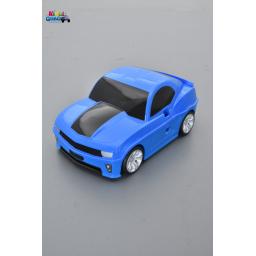 Valise voiture enfant muscle car bleu, valisette forme voiture bébé