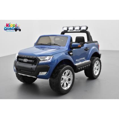 Ford Ranger 2 x 12V Phase 2 Bleu Cyclone métallisé avec télécommande parentale 2.4 GHz, voiture électrique pour enfant 2 places,