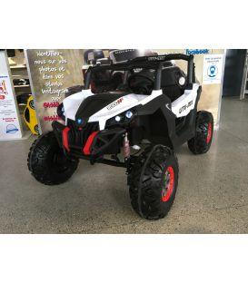 Destockage Buggy UTV Blanc 2 x 12V 4 roues motrices en gomme deux places, buggy électrique enfant