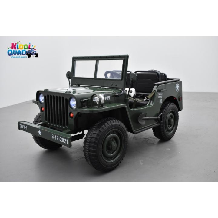 4X4 Jeep Army Willys Vert, voiture électrique enfant, 12V - 4 moteurs