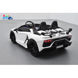 Lamborghini SVJ 24 Volts blanche, voiture électrique enfant 24V - 7AH, 2 moteurs