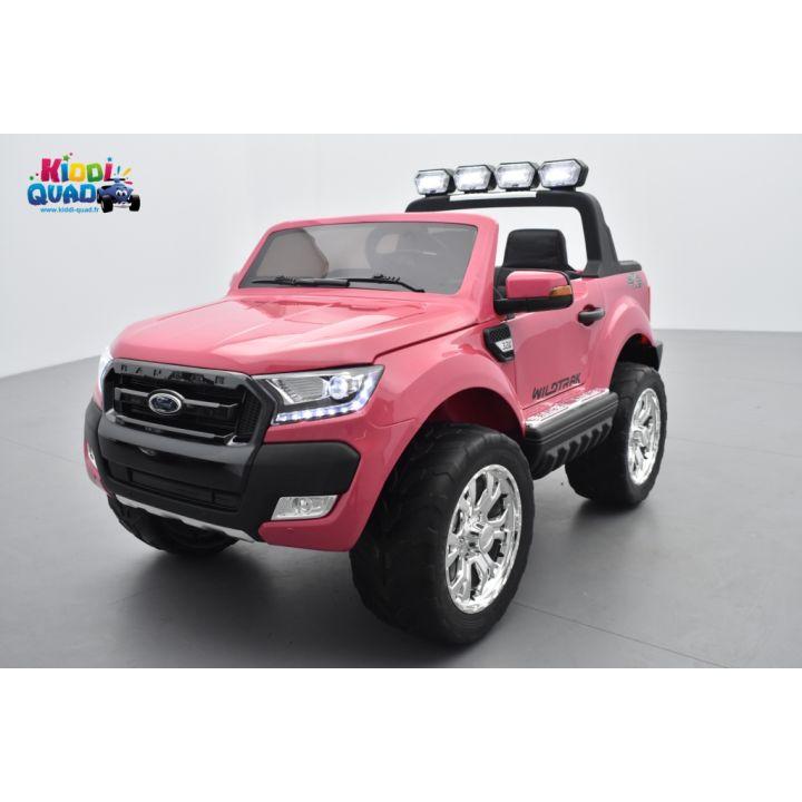 Ford Ranger 2 x 12V Phase 2 Rose métallisé avec télécommande parentale 2.4 GHz, voiture électrique pour enfant 2 places, 12 volt