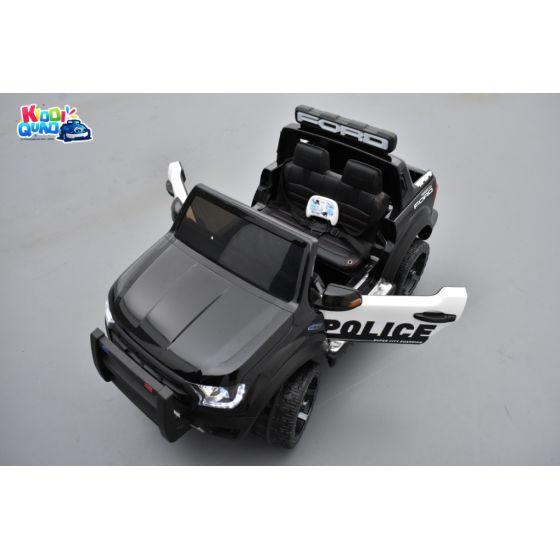 Ford Ranger Raptor Police Noir Métallisée, voiture électrique enfant 12V 10Ah, 2 moteurs