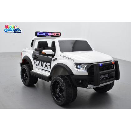 Ford Ranger Raptor Police Blanc Métallisée, voiture électrique enfant 12V 10Ah, 2 moteurs