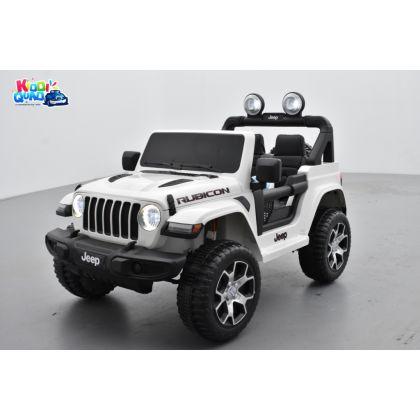 4X4 Jeep Wrangler Rubicon Blanc avec Ecran MP4, véhicule électrique enfant, 12V - 2 moteurs