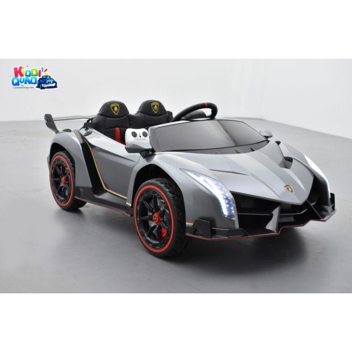 Lamborghini Veneno 12 Volts grise avec écran MP4, voiture électrique enfant 2x12V - 7AH, 4 moteurs