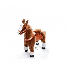 PonyCycle Marron Clair pattes blanches, cheval à roulettes enfant 4 à 10 ans