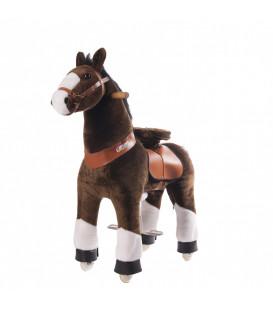 PonyCycle Brun pattes blanches, cheval à roulettes enfant 4 à 10 ans