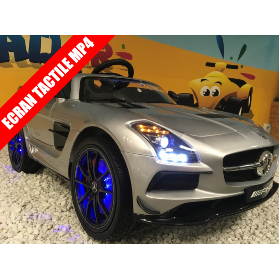 Mercedes SLS AMG Ligne Fascination Gris Sélénite, voiture électrique pour enfant, 12V - 2Moteurs