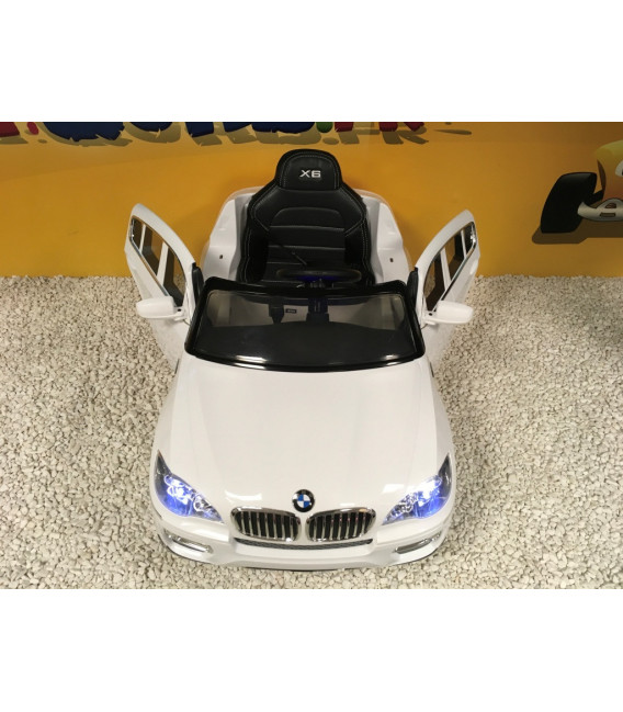 BMW X6 Blanc, Version Luxe, voiture électrique pour enfant , 12 volts, 2 moteurs
