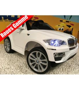 BMW X6, Blanc Version Luxe, voiture électrique pour enfant , 12 volts, 2 moteurs