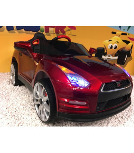 Nissan GT-R Rouge Vibrant 12 volts, Voiture électrique pour enfant télécommande parentale 2.4 GHz, roues gomme