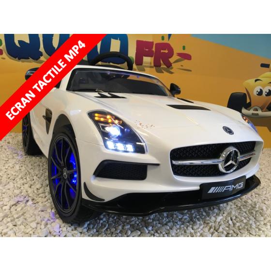 Mercedes SLS AMG Ligne Fascination Blanc, voiture électrique pour enfant, 12V - 2Moteurs