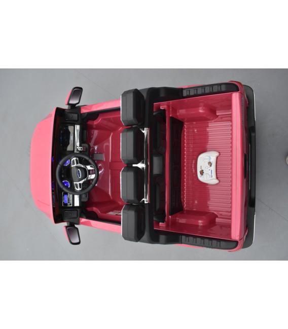 Ford Ranger Phase 2 Rose métallisé avec télécommande parentale 2.4 GHz, voiture électrique pour enfant 2 places, 12 volt