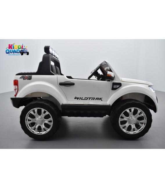 Ford Ranger Phase 2 Blanc écran MP4 avec télécommande parentale 2.4 GHz, voiture électrique pour enfant 2 places, 12 volt