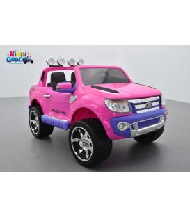 Ford Ranger Version Luxe Rose Non Peint avec télécommande parentale 2.4 GHz, voiture électrique pour enfant 2 places, 12 volts