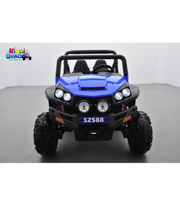 buggy bleu 12v14ah 4 roues motrices de 45 watts en gomme deux places voiture lectrique enfant. Black Bedroom Furniture Sets. Home Design Ideas