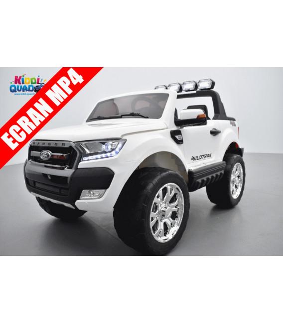 Ford Ranger 2 x 12V Phase 2 Blanc écran MP4 avec télécommande parentale 2.4 GHz, voiture électrique pour enfant 2 places, 12 vol
