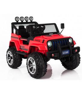 4x4 Jeep Rouge 4 roues Motrices de 45W, voiture électrique 12 volts roues gomme et télécommande parentale