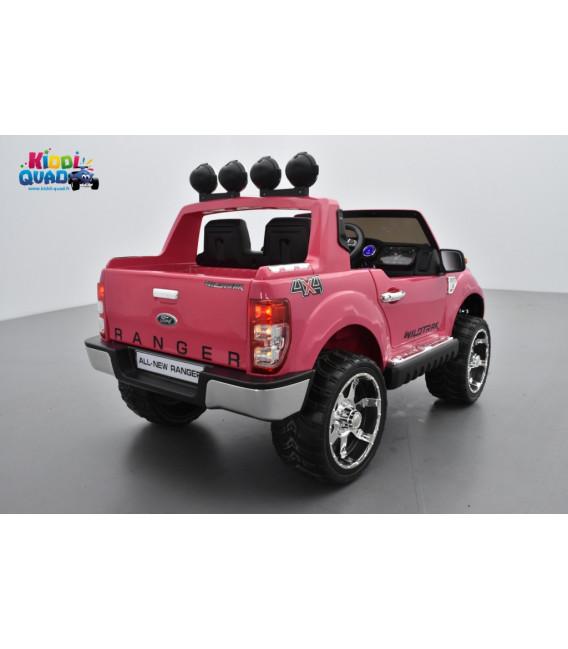 Ford Ranger Version Luxe rose métallisé avec télécommande parentale 2.4 GHz, voiture électrique pour enfant 2 places, 12 volts