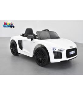 Audi R8 Spyder S Tronic 12 volts Blanc Ibis, voiture electrique enfant télécommande parentale 2.4 GHZ, 12 volts, 2 moteurs