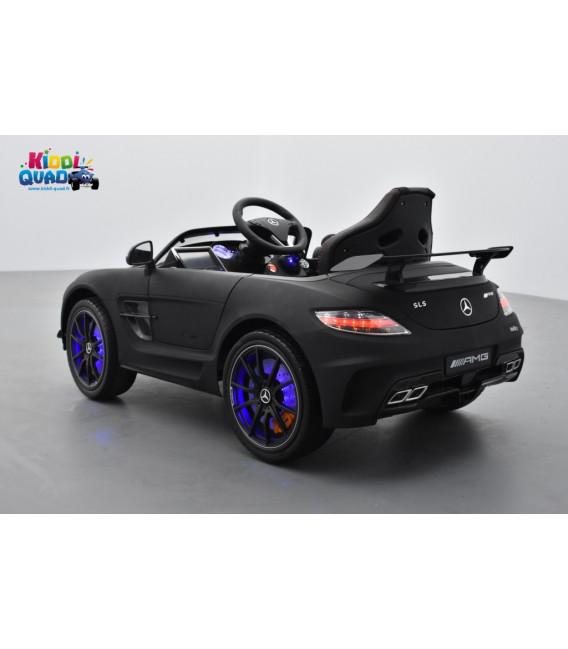 Mercedes SLS AMG Ligne Fascination Noir Mat, voiture électrique pour enfant, 12V - 2Moteurs