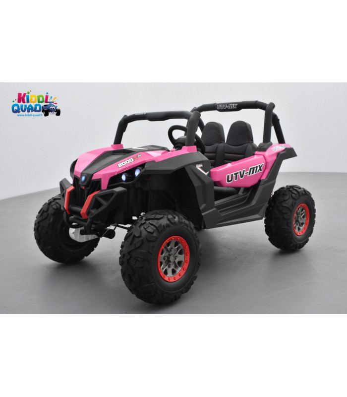 buggy utv rose 2 x 12v 4 roues motrices en gomme deux places voiture lectrique enfant kiddi quad. Black Bedroom Furniture Sets. Home Design Ideas