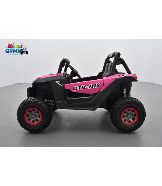 Buggy UTV Rose 2 x 12V 4 roues motrices en gomme deux places, voiture électrique enfant
