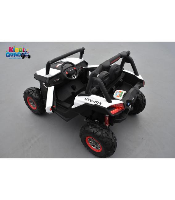 Buggy UTV Blanc 2 x 12V 4 roues motrices en gomme deux places, buggy électrique enfant