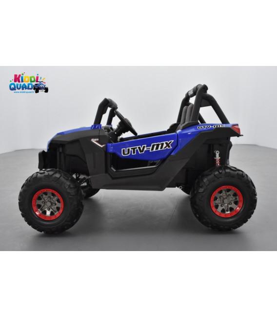 Buggy UTV Bleu 2 x 12V 4 roues motrices en gomme deux places, buggy électrique enfant