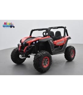 Buggy UTV Rouge 2 x 12V 4 roues motrices en gomme deux places, buggy électrique enfant