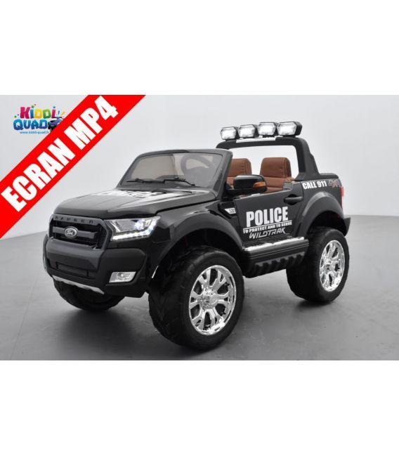 Ford Ranger Police 2 x 12V Phase 2 Noir Shadow métallisé avec télécommande parentale 2.4 GHz, voiture électrique pour enfant 2 p