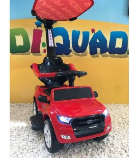 Trotteur voiture Ford Ranger rouge, porteur pousseur ombrelle pour enfant