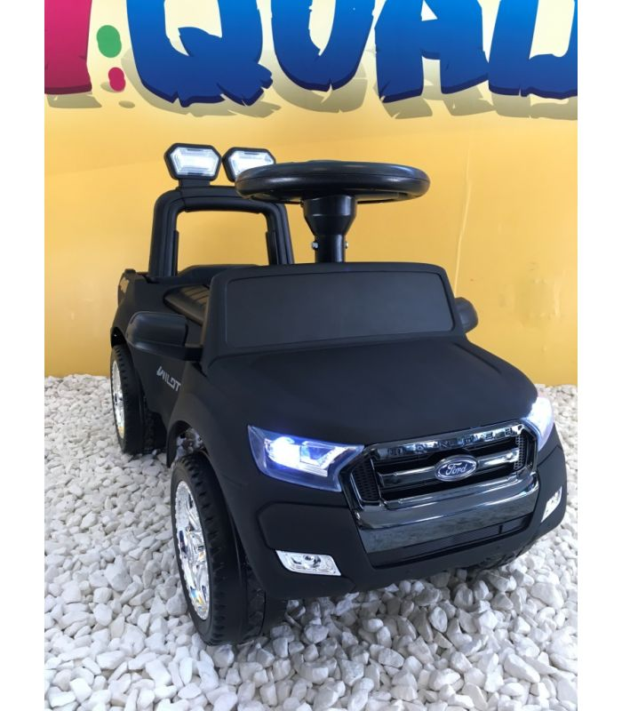 224a3356cbb8 Trotteur voiture Ford Ranger noir mat, porteur pousseur ombrelle pour enfant