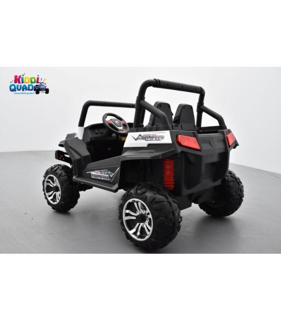 Buggy Blanc 12v14Ah 4 roues motrices de 45 watts en gomme deux places, voiture électrique enfant