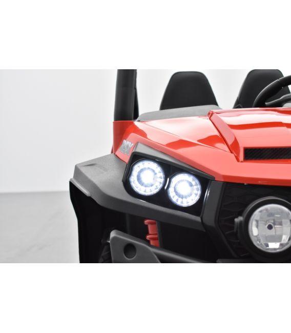 Buggy Rouge 12v14Ah 4 roues motrices de 45 watts en gomme deux places, voiture électrique enfant