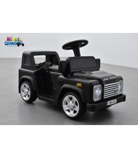 Trotteur voiturette 6 Volts Land Rover Defender noir, porteur pousseur voiture avec télécommande parentale