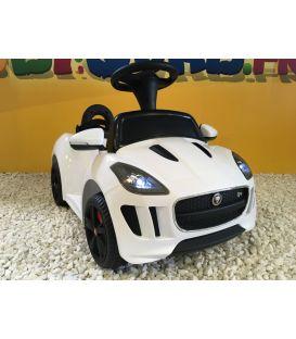 Trotteur voiture Jaguar F-type blanc, porteur pousseur voiture sans télécommande