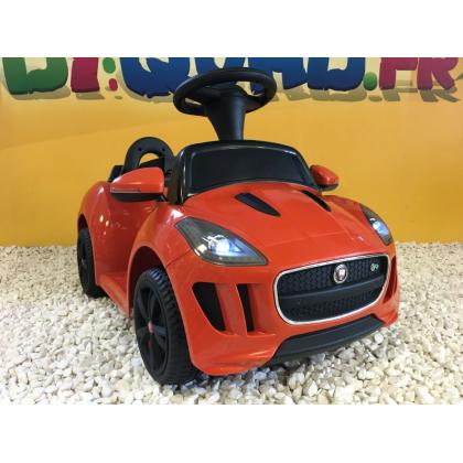 Trotteur voiture Jaguar F-type orange, porteur pousseur voiture sans télécommande