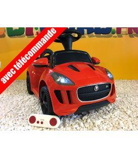 Trotteur voiture Jaguar F-type orange, porteur pousseur voiture avec télécommande
