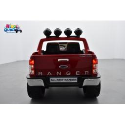 Ford Ranger Version Luxe rouge métallisé avec télécommande parentale 2.4 GHz, voiture électrique pour enfant 2 places, 12 Volts