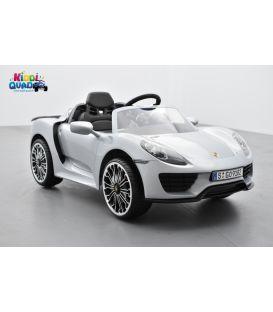 Porsche 918 Spyder Grise 12 volts , voiture électrique pour enfant avec télécommande parentale 2.4 GHz
